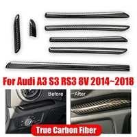 7pcs Real Carbon Fiber Car Console Cover Door Panel Strips Trim Interior Moldings for Audi A3 S3 RS3 8V 2014 2018 LHD