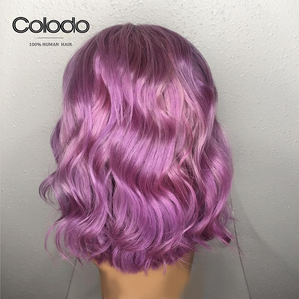 COLODO Lavender Purple 13x4 Loose Wave Wig 14inch Blue Bob Lace Front Wigs Pre Plucked 613 Lace Front Human Hair Wigs for Women-in Human Hair Lace Wigs from Hair Extensions & Wigs    3