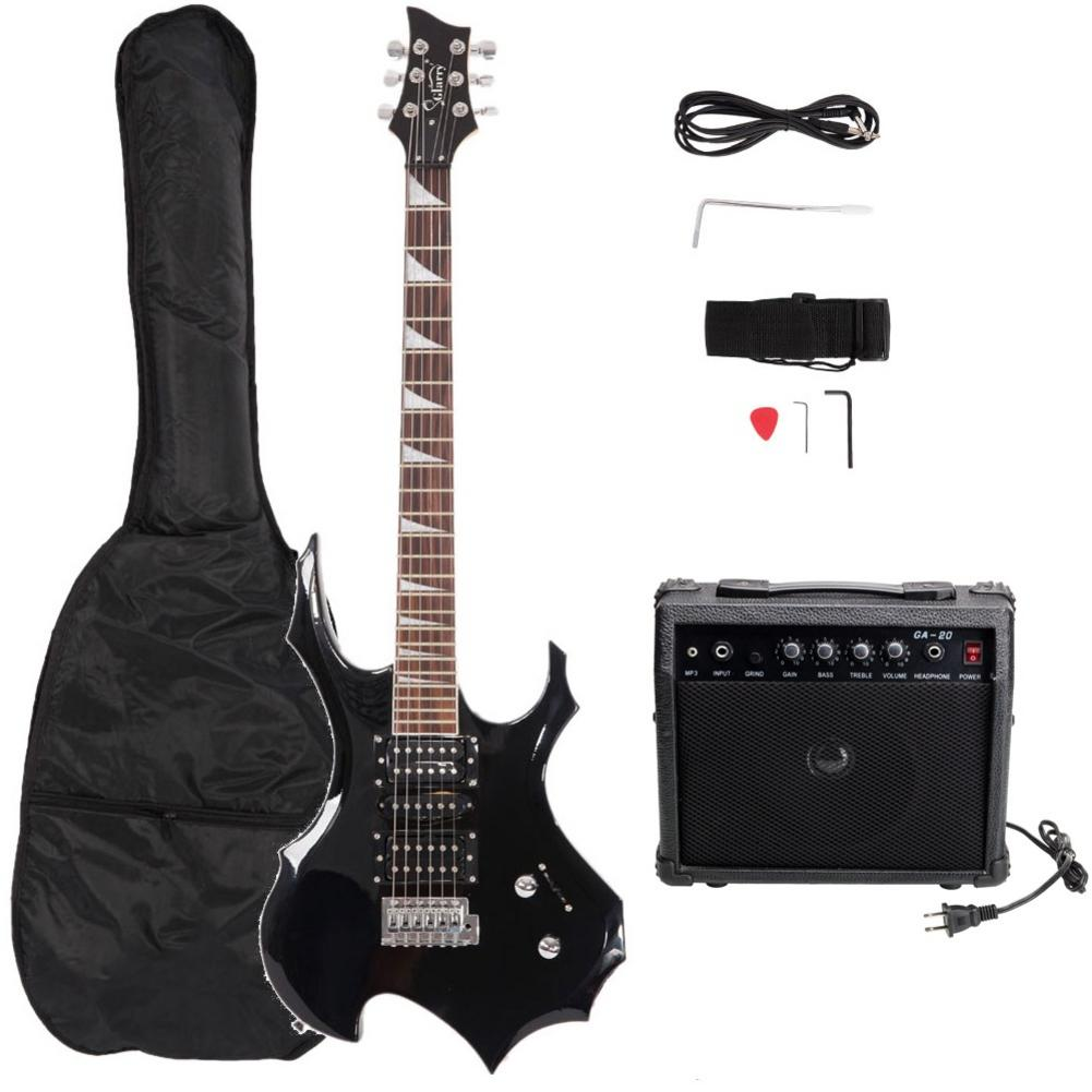 Profissional Conjunto Guitarra Elétrica Chama + Áudio + Bag + Strap + Pega + Agitar + Cabo + Wrench Ferramenta preto - 2