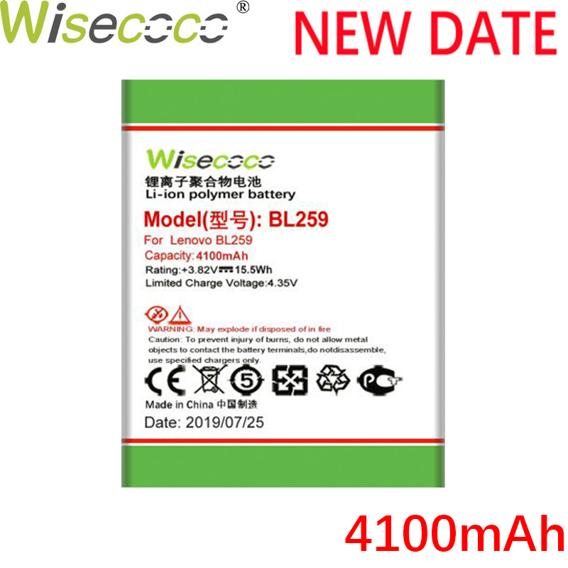 WISECOCO 4100mAh BL259 Battery For Lenovo vibe k5 plus K32C30 K32C36 Mobile Phone Latest Production Battery With Tracking Number in Mobile Phone Batteries from Cellphones Telecommunications
