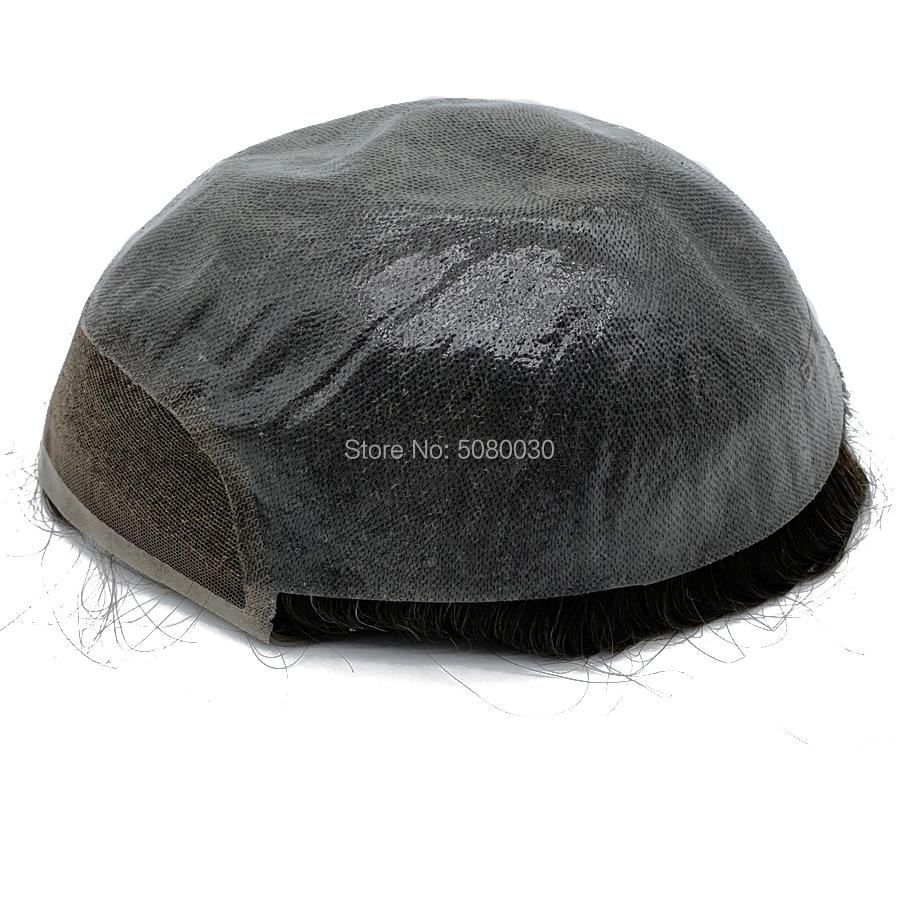 100% cheveux humains base taille 8x10 pouces dentelle avant hommes toupet gros indien remy cheveux humains toupet - 2