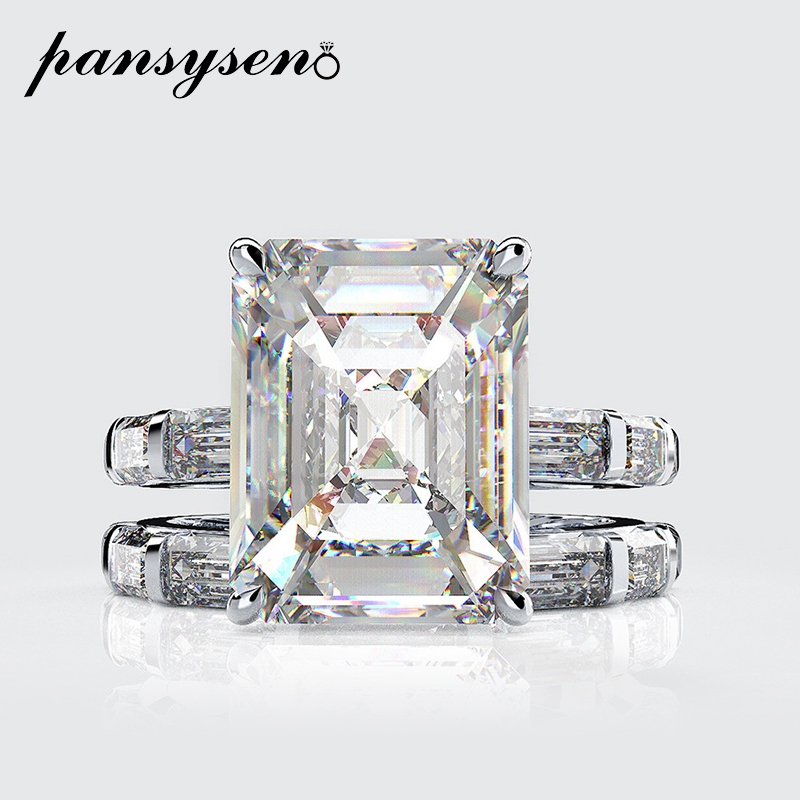 PANSYSEN 100% Solid 925 Sterling Silver Wedding Engagement Rings for Women Top Grade Gemstone Cocktail Ring Set Fine Jewelry