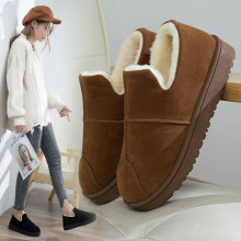 Snow Suede Ankle Boots Women Flats Winter Warm Winter Short Boots New Fashion Suede Boots Snow Women Shoes Fur Plush Suede Shoes(China)