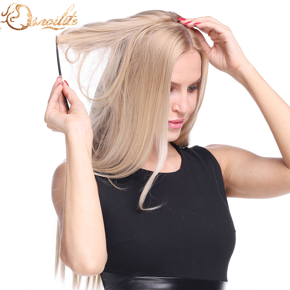 S-noilite 20inch Invisible Wire Synthetic No Clip One Piece Hair Extension 64 Colors False Hair Hairpieces For Women