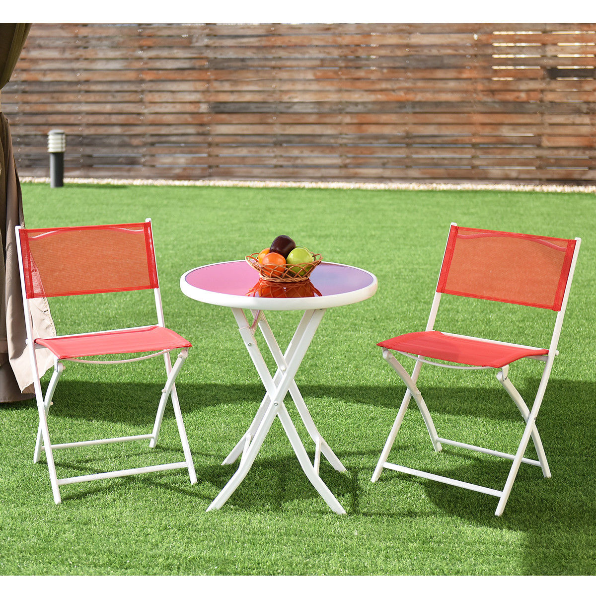 costway 3 pcs folding bistro table chairs set garden backyard patio furniture red op3355re