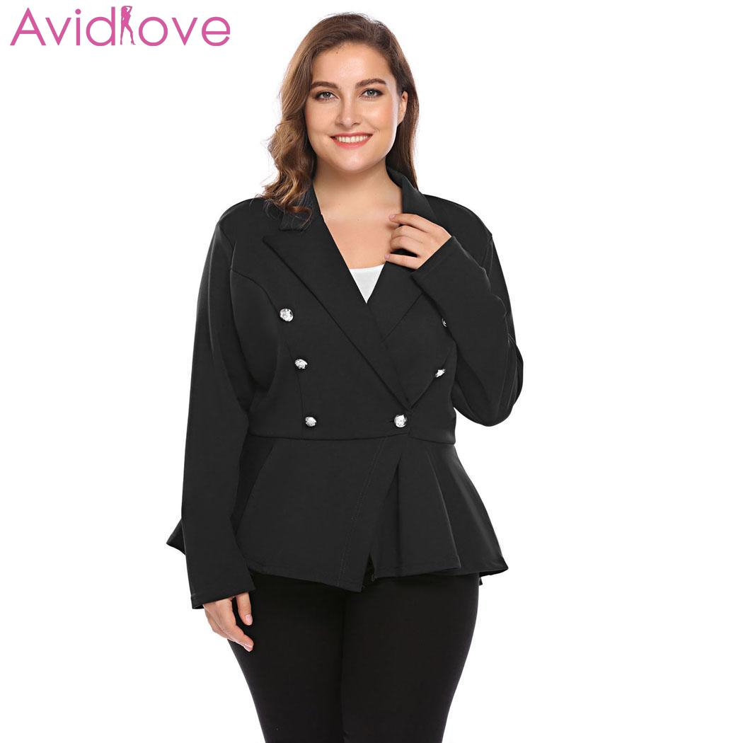 Women Plus Size Lapel Long Sleeve One Casual, Wear Work Button Spring, Autumn Asymmetrical Casual Blazer