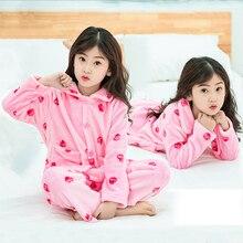 2019 Winter Kids strawberrie print  Girls Boys Pajams sets kids flannel pajamas Tops+Pants Set 2pcs set for 6 8 10 12 years