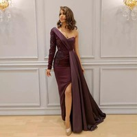 One Shoulder Mermaid Evening Dress Satin Latest Design Formal Gown Side Slit Handmade Appliques Custom Made Robe de Soiree
