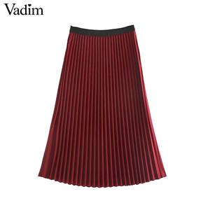 Image 5 - Vadim ผู้หญิง Basic กระโปรงจีบเอวสีแดงสีดำกระโปรง Midi หญิงสบายๆกลางลูกวัวกระโปรง BA848