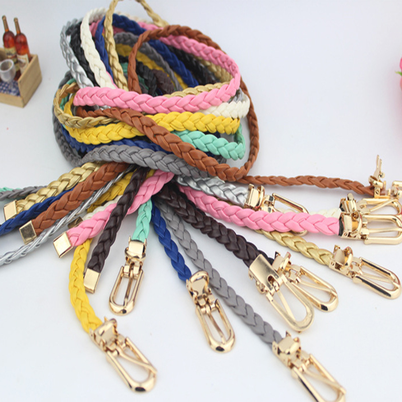 Casual Stretch Weave Belt Women's Child Elastic Belts For Dress Jeans Knitted Belts Straps Vintage Thin Handmade Waistband