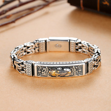 Bracelet Bangle Silver Men Retrosen Popular Peace-Tattoo Double-Chain Lucky-Money Chinese-Style