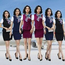 Весна-лето 2020, безрукавка, одежда для женщин, костюм-стиль, высокоскоростная униформа стюардессы, комплект из трех предметов, отель, красота,...
