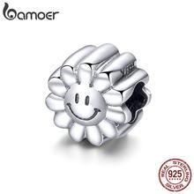 BAMOER otantik 925 ayar gümüş gülümseme ayçiçeği güneşli yüz Charms boncuk fit orijinal bilezikler DIY takı yapımı SCC901