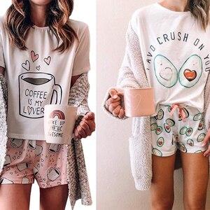 2020 Woman Kawaii Pajamas Summer Pijama Mujer Pajamas Cute Cat Printe Lounge Wear Sleepwear Set Suit for Home