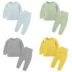 Image 1 - Intimo termico per bambini a vita alta Set neonato primavera autunno abiti bambini cotone vita alta abbigliamento per la casa neonato ragazza indumenti da notte