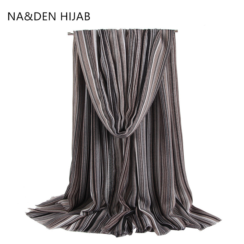 1PCS NEW Striped Winter Scarf Classic Scarves Muslim Hijab Viscose Islamic Bandana Solid Shalws Hi-Q Ladies Wraps Long Muffler