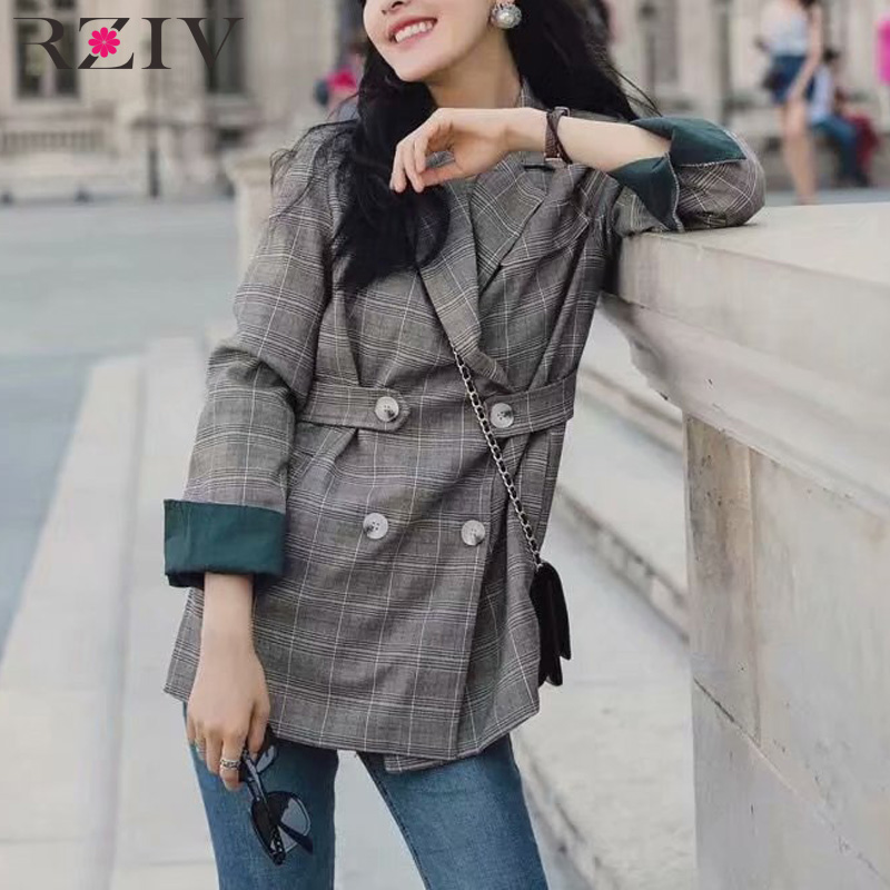 RZIV Autumn and winter women casual plaid double-breasted suit and rolled up their sleeves suit