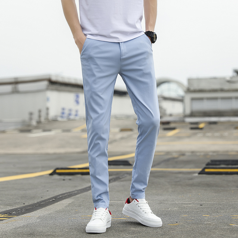 MEN'S Casual Pants Solid Color Elasticity Slim Fit Casual Skinny Trousers 2019 Large Size Solid Color Casual Straight-Cut Suit P