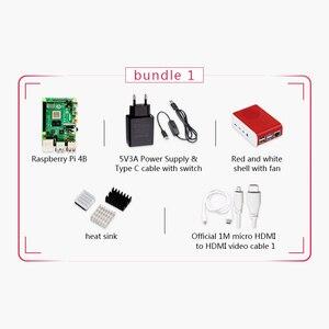 Image 2 - Original Raspberry Pi 4 Modell B 4G Kit Pi 4 bord Micro HDMI Kabel Netzteil Mit Schalter Fall mit Fan Kühlkörper