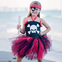 цены Girls Baby Halloween Costume For Kids Child Cosplay Pirate Demon Skull Fancy Dress Party Christmas Tutu