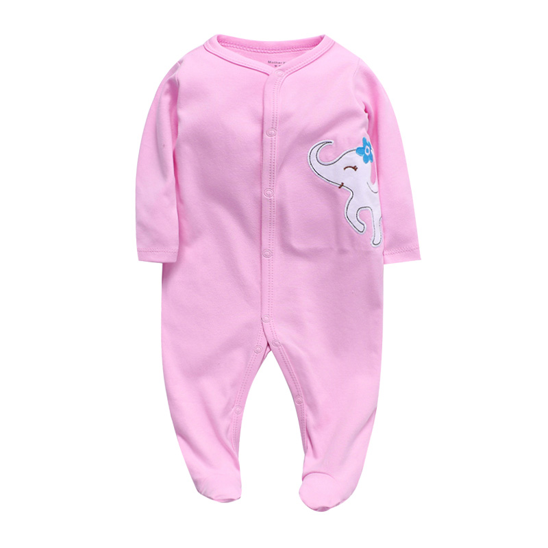 Newborn Footed Jumpsuit Baby Girls Sleep Pajamas 3 6 9 12 Months 100% Coton Infant Boys Clothing