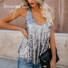 Sale Gold Silver Sequins Tank Top Sleeveless Punk T