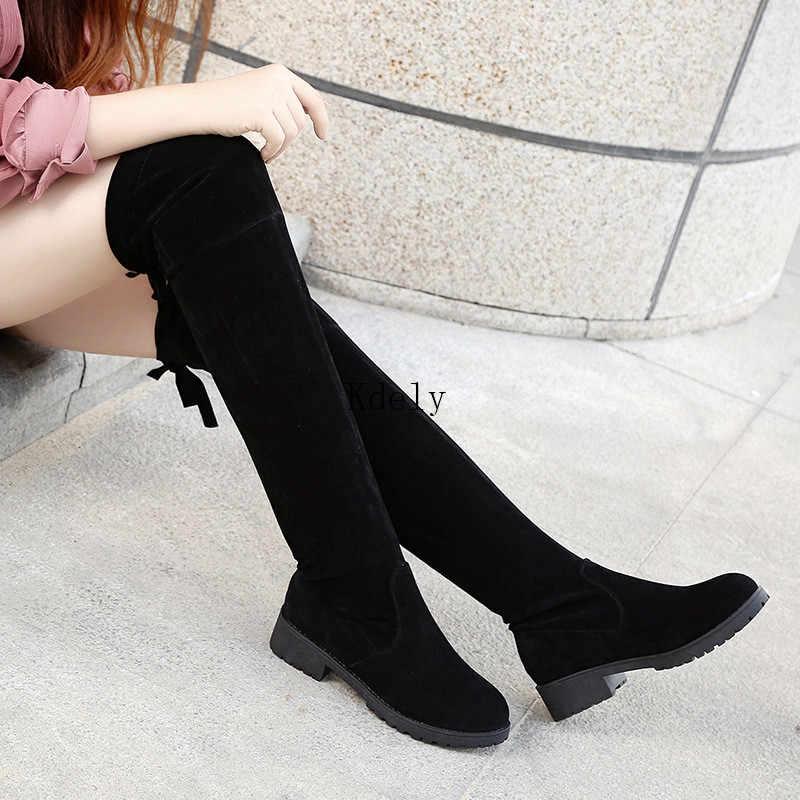 ירך גבוהה מגפי חורף מגפי נשים מעל הברך מגפי שטוח למתוח סקסי אופנה נעלי 2020 שחור Botas Mujer