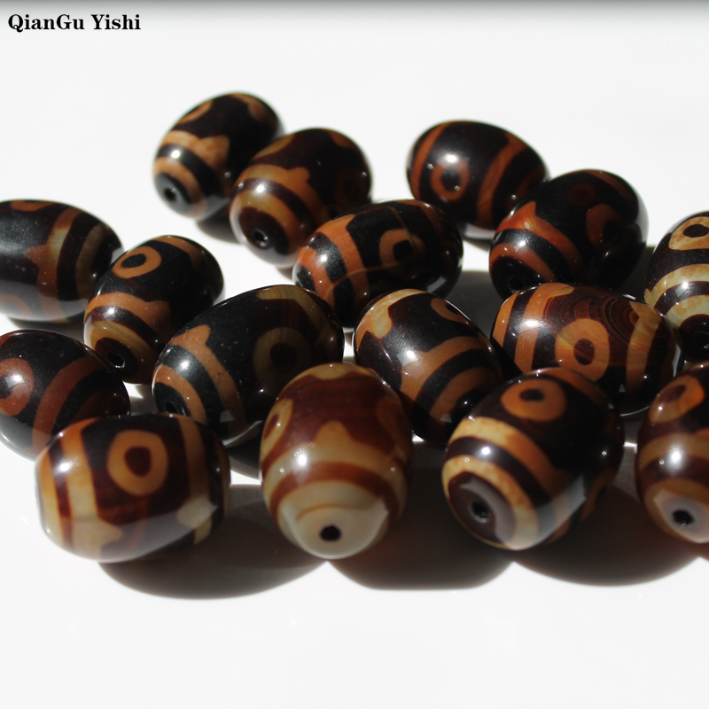 Retro Natural Tibetan Dzi Agates Beads Vintage Jewelry DIY Prayer Stone Beads Rice Oval Three-eyed  Black/coffee Agates Beads
