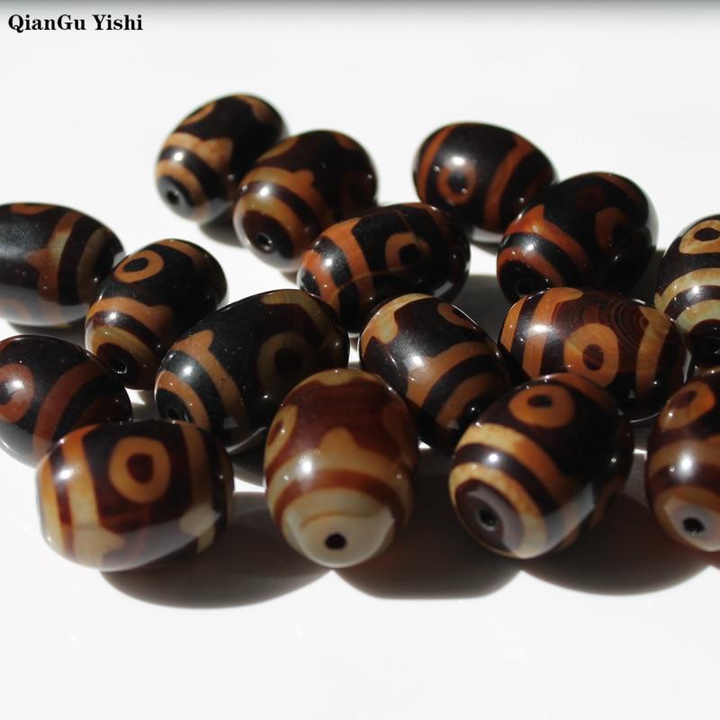 Retro Natural Tibetan Dzi Agates Beads Vintage Jewelry DIY Prayer Stone Beads Rice Oval Three-eyed  Black/coffee Agates Beads