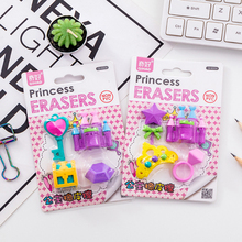 4pcs/pack Princess Castle Series Rubber Eraser Set Kawaii Stationery Supplies Papelaria Gift