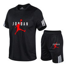 Jordan-23 Sports Suit Men'S Running Suit Gym Summer Two Piece Quick Drying Clothes Ice Thin Casual Short Sleeve Shorts Summer