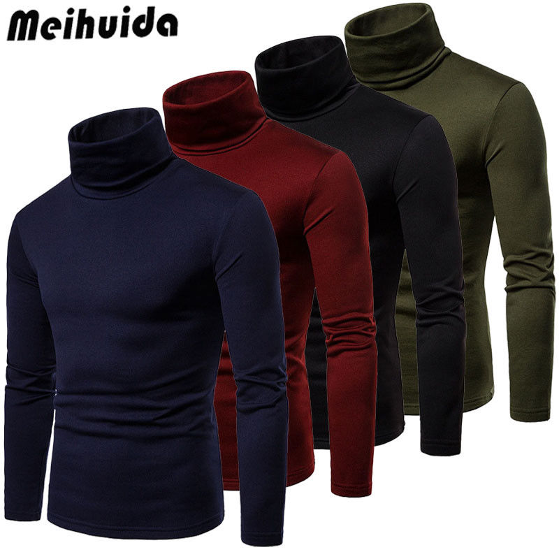 Meihuida Autumn Winter Mens Turtleneck Long Sleeve Plain Sweaters Stretch Casual  Kintted Pullovers Basic Tops