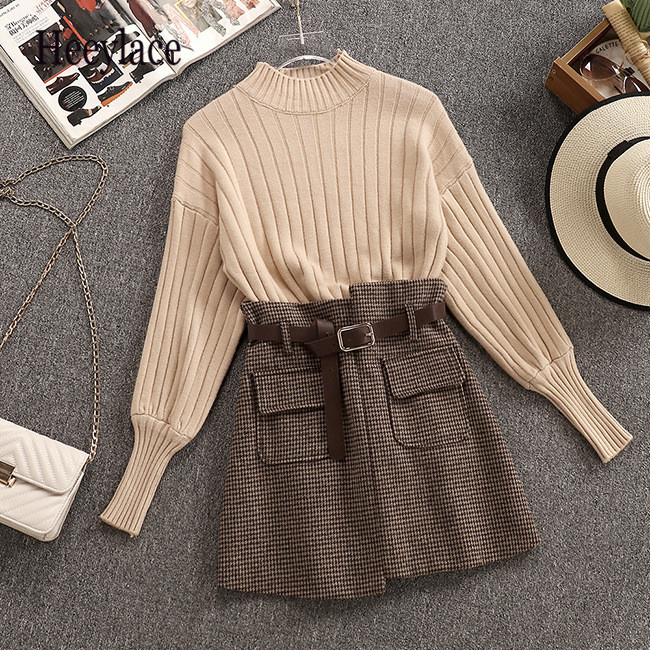 Knitted Puff Sleeve Fashion O-Neck Women Simple Sweaters Tops+Woollen Cloth Pockets Plaid High Waist Mini Skirts New Winter Sets