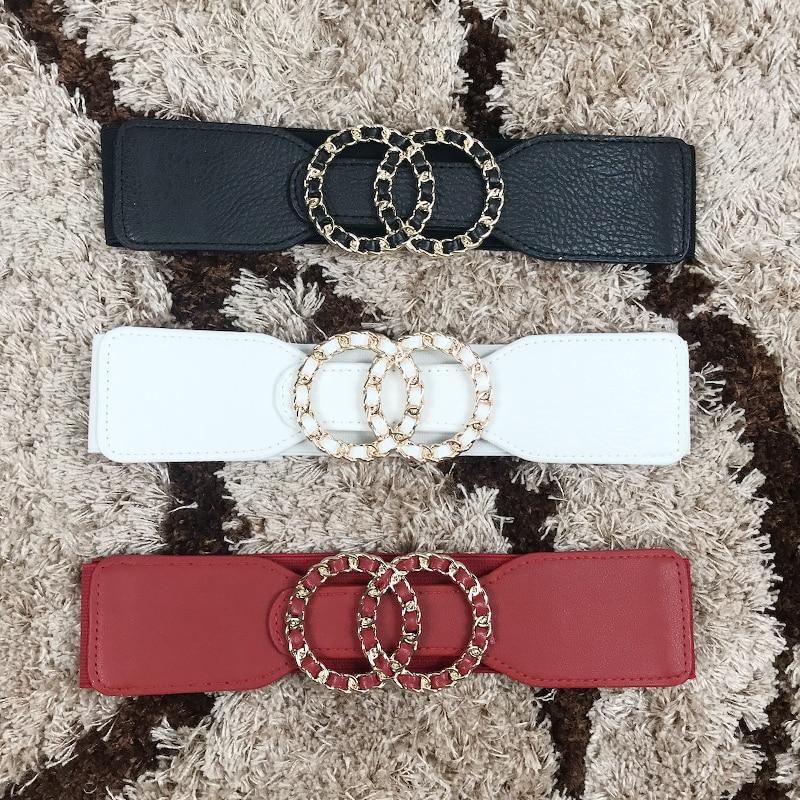 Plus Size Belt Wide Waist Elastic Big Cinturon Mujer Luxury Brand Black Stretch Cummerbund For Dress Fashion Corset Waistband
