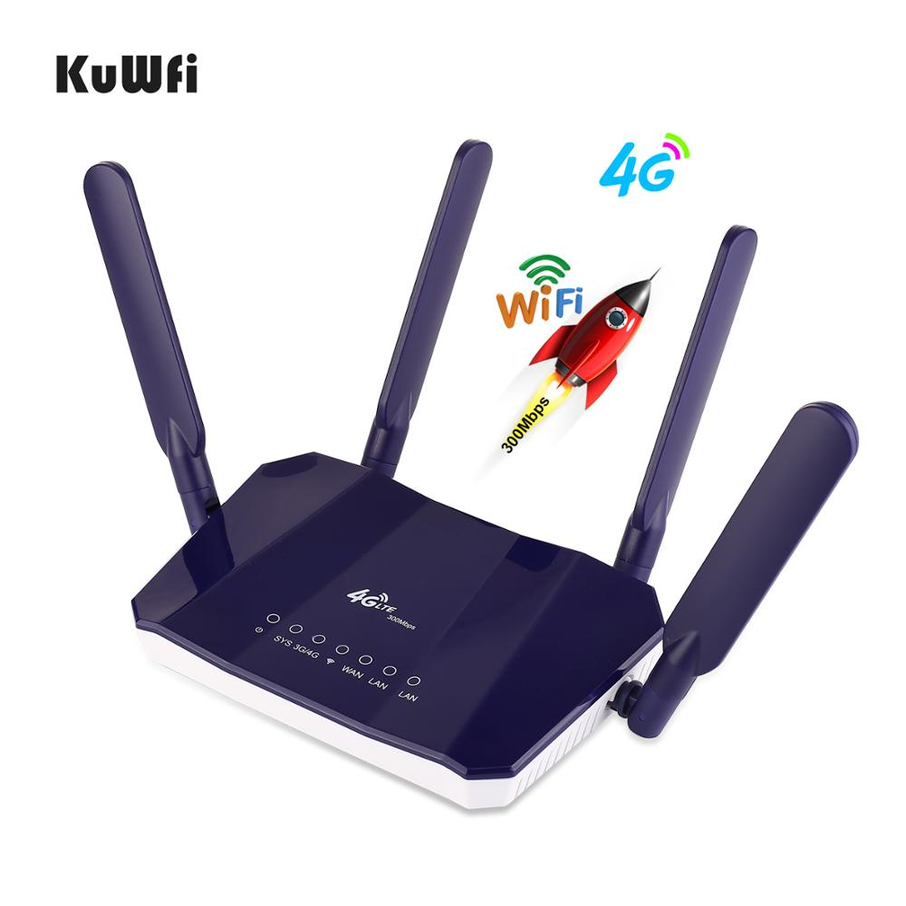 Image 4 - KuWFi 4G LTE CPE Wireless Router 300Mbps Indoor Wireless CPE Router 4Pcs Antennas With LAN Port Wifi Router SIM Card Slot-in 3G/4G Routers from Computer & Office