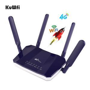 Image 4 - KuWFi routeur intérieur CPE sans fil 4G LTE 300 mb/s, 4 pièces antennes avec Port LAN, avec fente pour carte SIM