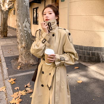 Brand New Spring Autumn Women Trench Coat Long Double-Breasted with Belts Flaps England Style Duster Coat Cloak Female Outerwear 1