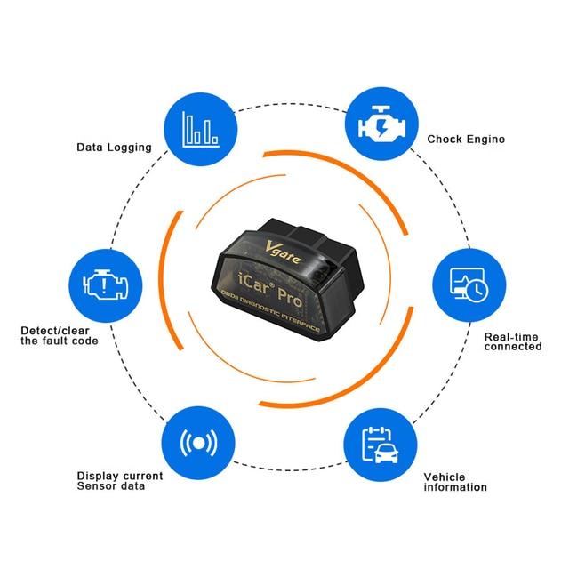 Vgate iCar Pro Bluetooth 4.0 ELM327 WIFI OBD2 Scanner Scan For Android/IOS OBD 2 OBD2 Car Diagnostic Auto Tools PK ELM 327 V 1 5 2