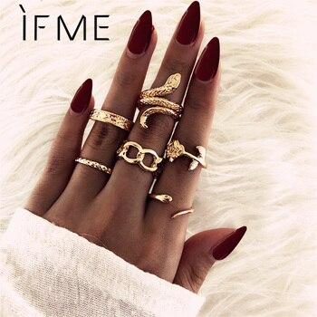 IF ME-Conjunto de anillos de dedo para mujer, Color dorado, serpiente, rosa, infinito, Vintage, clásico, nudillo, joyería para fiesta
