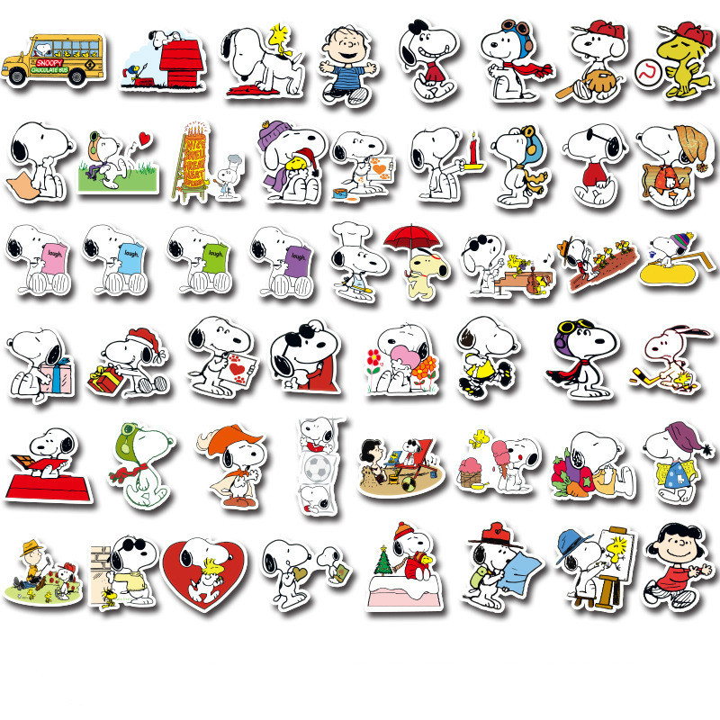 50/100pcs Cartoon Snoopy Stickers for Laptop Skateboard Luggage Decal Office Toy Appliances Netbook Waterproof Stickers