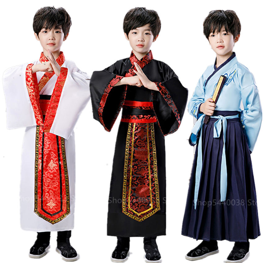 Ancient Chinese Costume Teenager Hanfu Dress Baby Girl Boy Clothes Tang Dynasty Kid Folk Dance Traditional Chinese Costume Party
