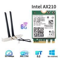 Tarjeta inalámbrica Intel AX210 M.2 de doble banda, Wifi, 3000Mbps, 6E, Bluetooth 5,2, 802, 11ac/ax AX210NGW, con antenas 6dbi para Win 10