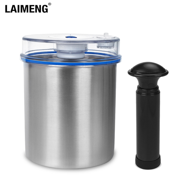 Laimeng Stainless Steel 304 Vacuum Container Food Storage Containers Vacuum Canister For Vacuum Sealer Food Container S163