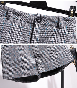 Image 5 - Autumn Winter Pullover Knitted Top Plaid Skirt 2pcs Sets Striped Long Sleeve Sweater+High Waist Plaid Shorts Two piece Sets