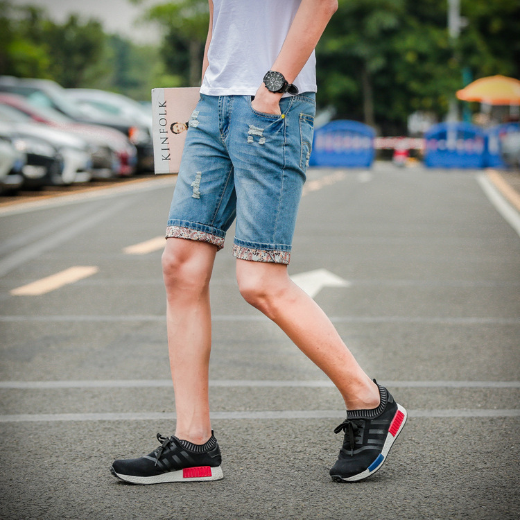 Summer Denim Shorts Men's With Holes Skinny Beggar Shorts Loose Casual 5 Knee-length Denim Shorts Revers Fashion Thin