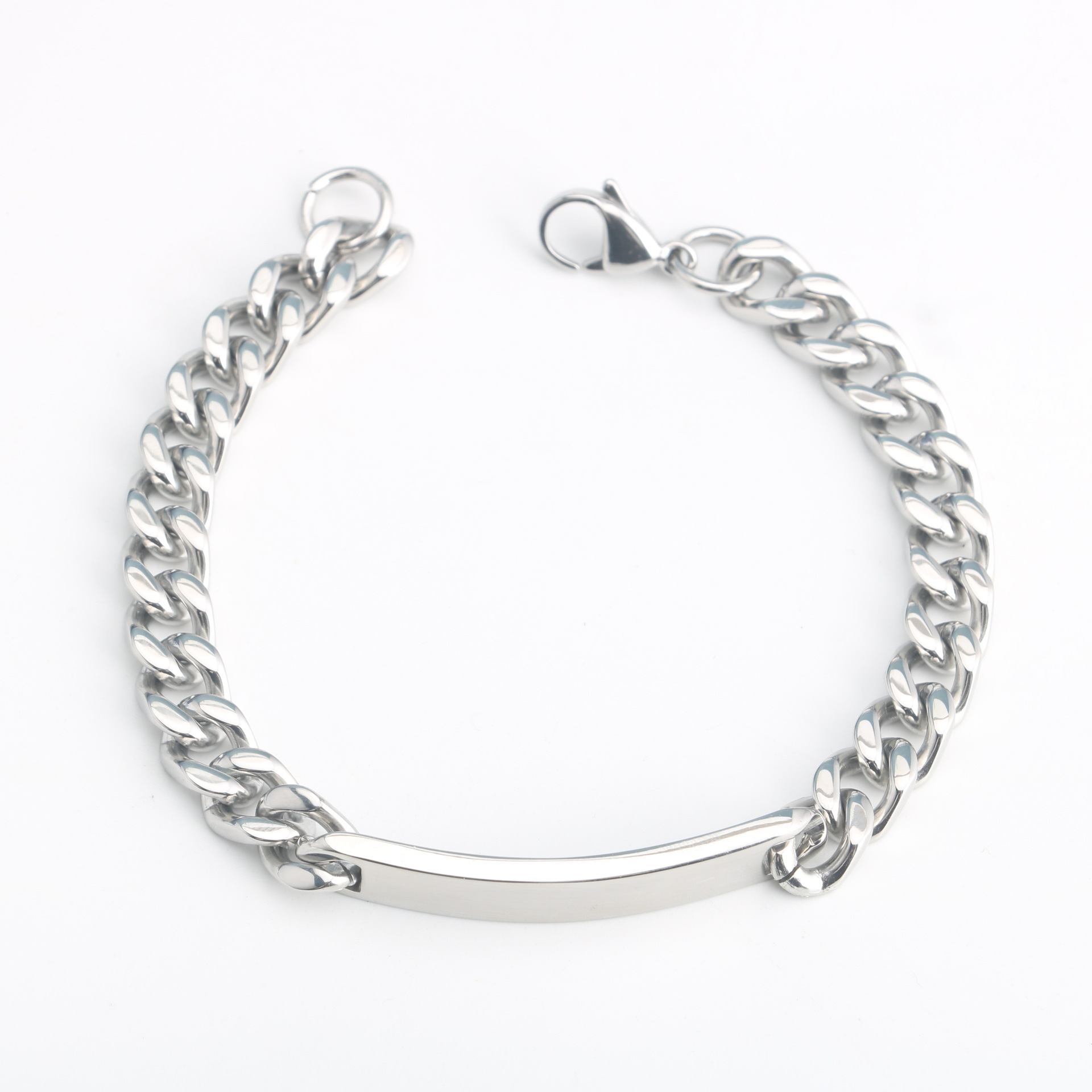 Mens Jewelry Stainless Steel Bar Link Chains Necklaces Stainless Steel Lobster Clasp Bracelets Bangles 18cm 22cm Party