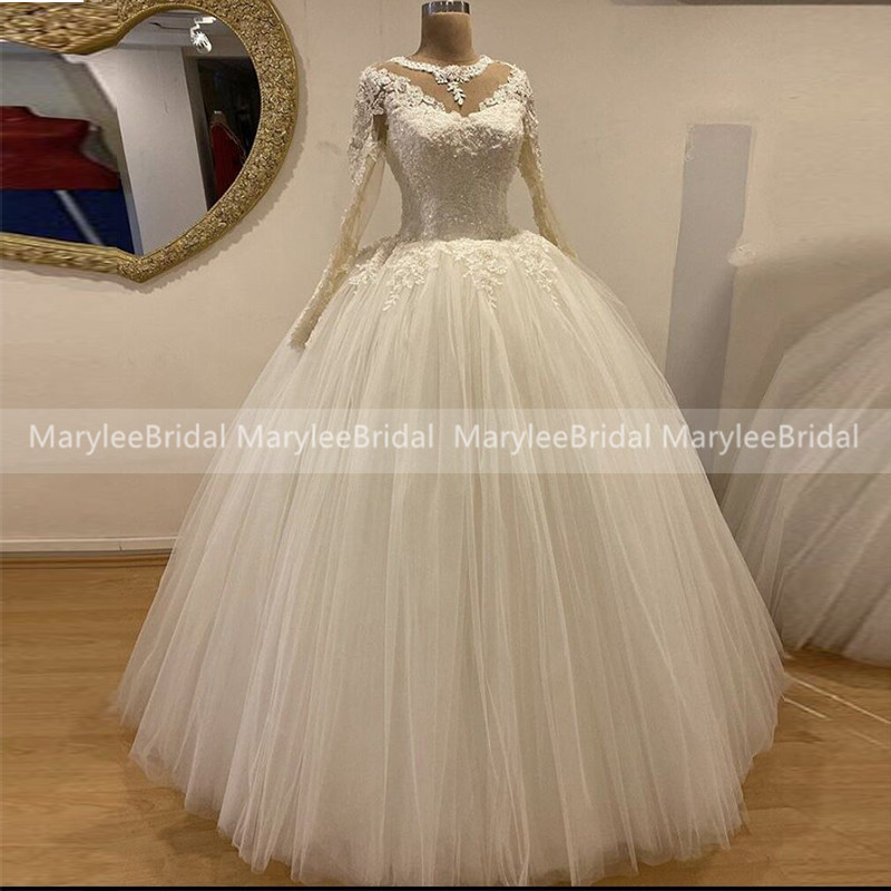 Princess Lace Beaded 2020 Arabic Wedding Dresses Sheer O-Neck Long Sleeves Tulle Bridal Dress Plus Size Wedding Gown Robe Mariee