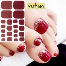 22 dicas brilhante toenail adesivo cobertura completa pés decorações padrões misturados envoltórios de unhas beleza design à prova dwaterproof água unha arte manicure