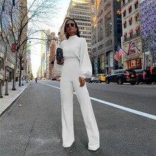גולף שרוול פנס רופף Rompers נשים סרבל טוניקה רחב רגל התלקחות מכנסיים אלגנטי סרבל צהוב שחור לבן סרבל