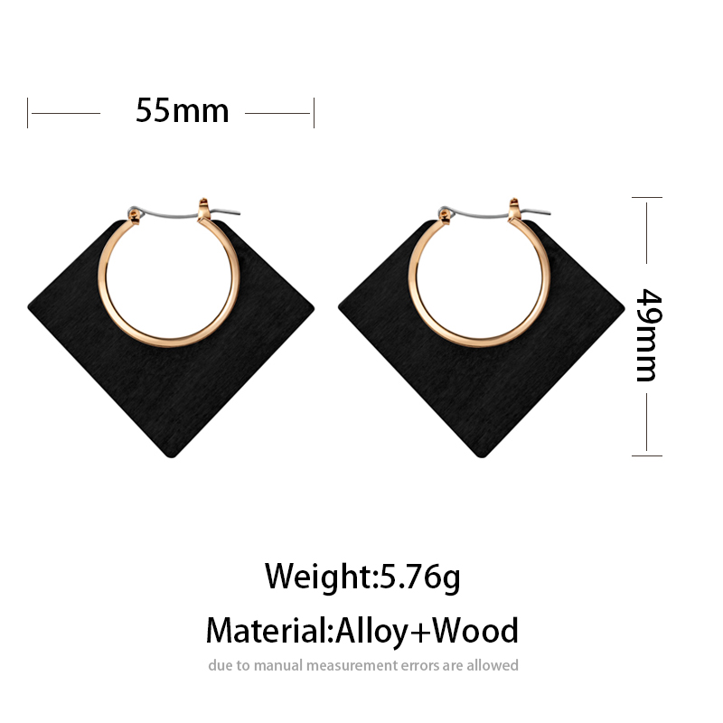 ZWC Fashion Vintage Geometry Statement Hollow Wood Drop Earrings For Women Brown Color Big Round Earring Brincos 2020 Jewelry